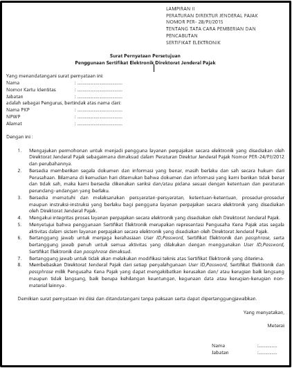 11+ Contoh surat pernyataan persetujuan penggunaan sertifikat elektronik word terbaru terbaru