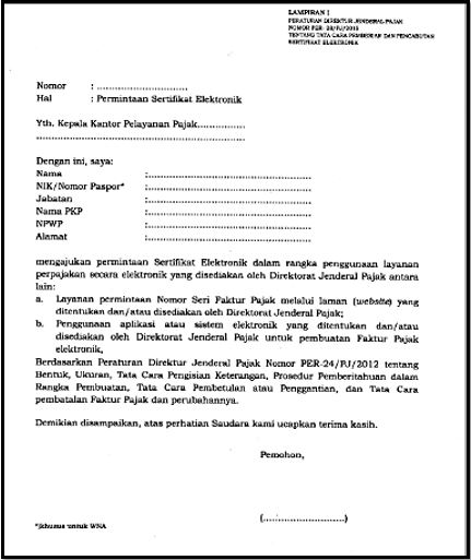 Contoh Surat Permintaan Sertifikat Elektronik E Faktur Www Gambar Wiki